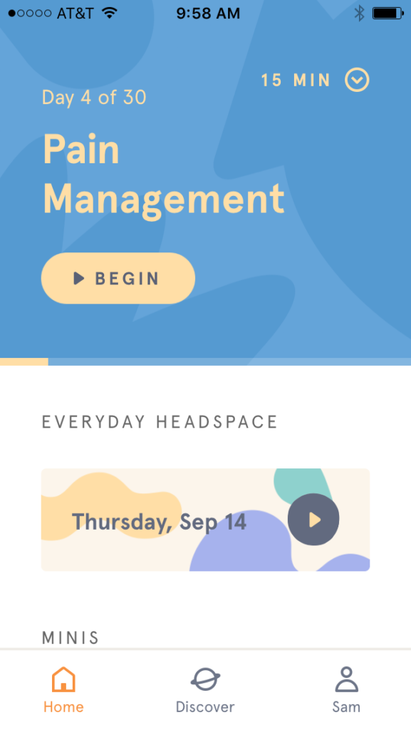 screenshot of the Headspace homescreen